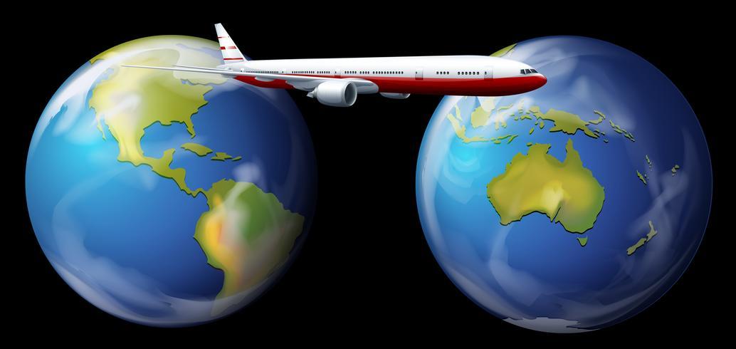 Avión volando alrededor del mundo vector