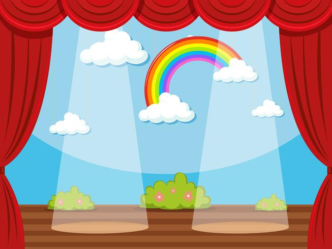 Palco com arco-íris em pano de fundo
