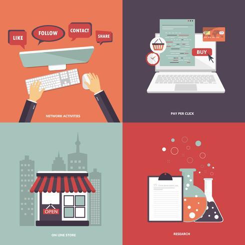 Set di icone di affari e tecnologia per siti Web e applicazioni mobili