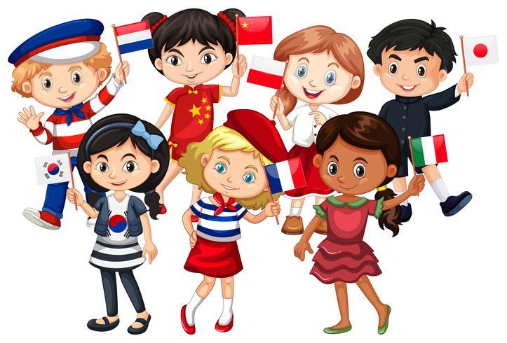Les enfants viennent de différents pays