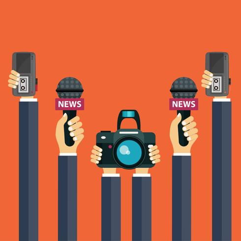 Microphones in reporter hands. Set of microphones and recorders in hands. Mass media, television, interview, breaking news, press conference concept