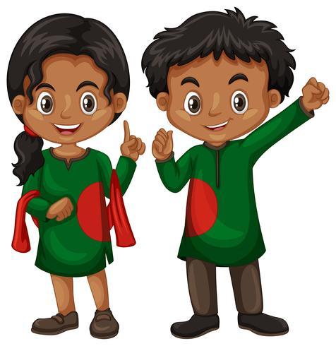 Menino de Bangladesh e garota com roupa de tradição
