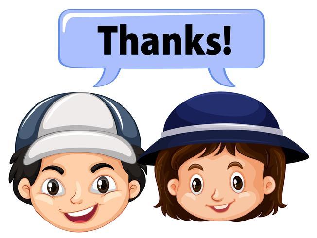 Jungen und Mädchen mit Wort danke