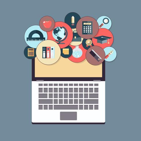 Education en ligne et concept d'apprentissage électronique. Tutoriels Web en ligne. Illustration vectorielle plane