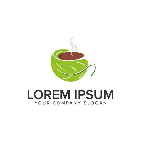Modelo de conceito de design de logotipo café verde.