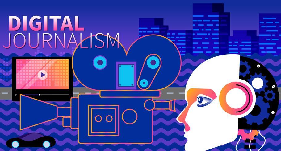 Plantilla de sitio web de vector de contenido de video y periodismo digital