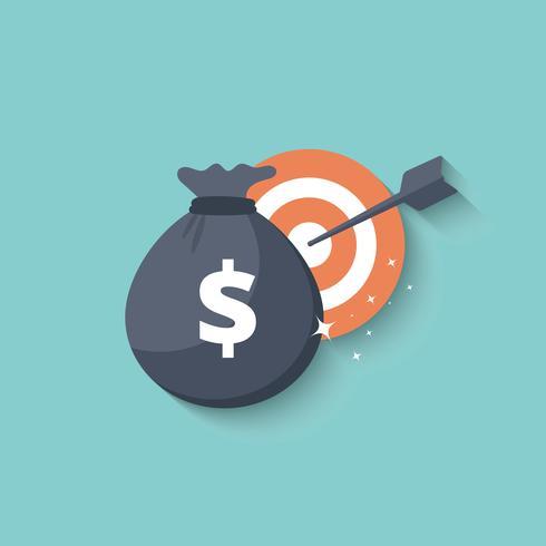 Borsa di denaro e icona di destinazione