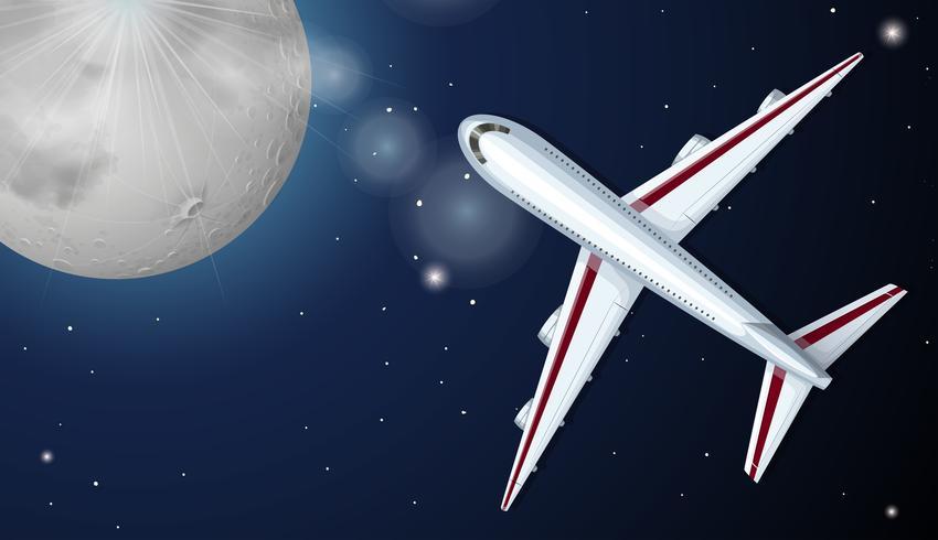 Flygplan som flyger på natten vektor