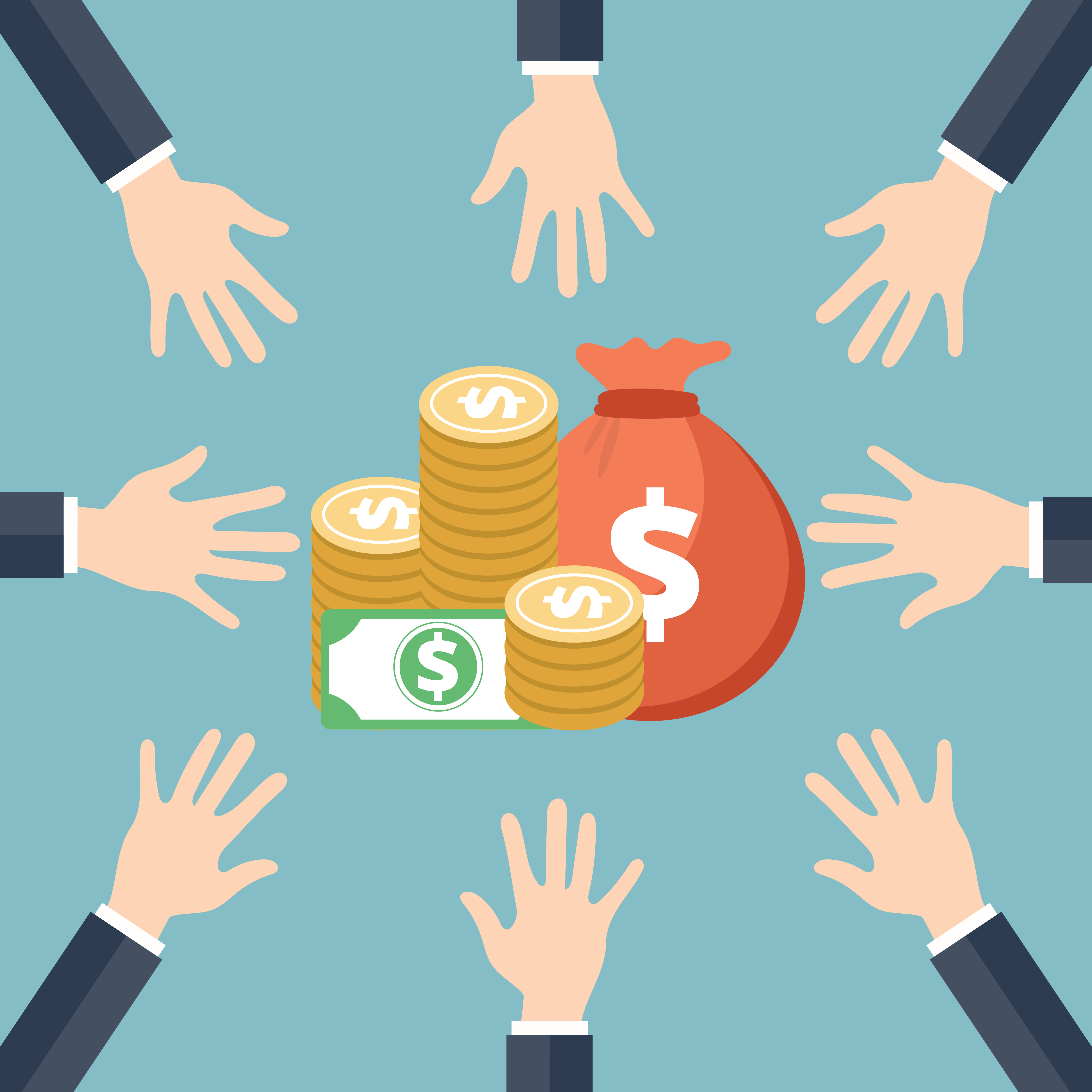 Investment Concept. Hands Reaching For Money