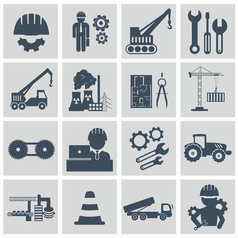 Conjunto de iconos de ingeniería. Ingeniero de maquinaria de construcción, operador de maquinaria, gestión y fabricación de iconos. Ilustración vectorial plana