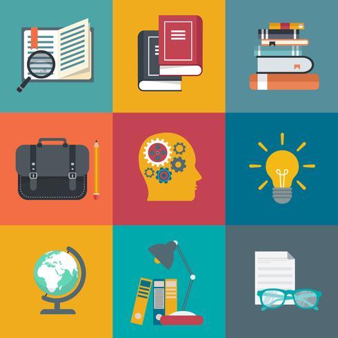 Apprentissage en ligne, tutoriels, jeu d'icônes de la formation professionnelle