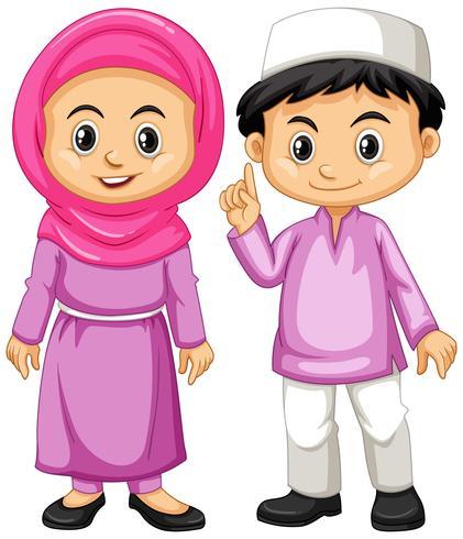 Muslimska barn i lila outfit