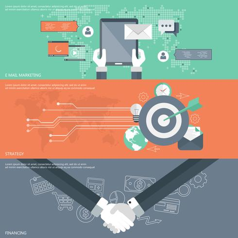 Ensemble de concepts d'illustration vectorielle design plat pour e-mail marketing, stratégie commerciale et financement.