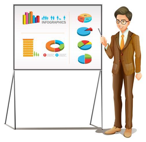 Hombre de negocios que presenta gráficos en el tablero