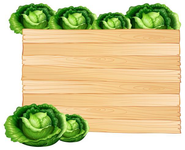 Tablero de madera y coles