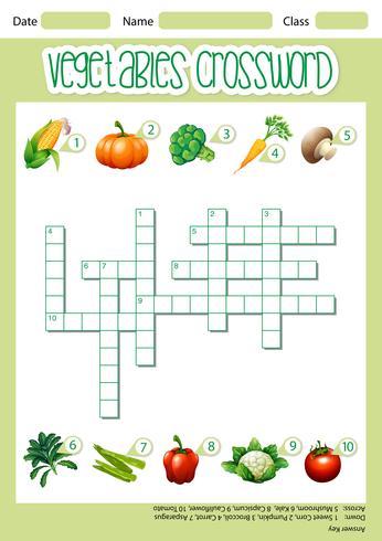 Vegetable crossword game template