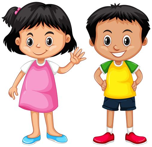b91d17d3f763 Cute boy and girl with happy face - Download Free Vector Art, Stock ...
