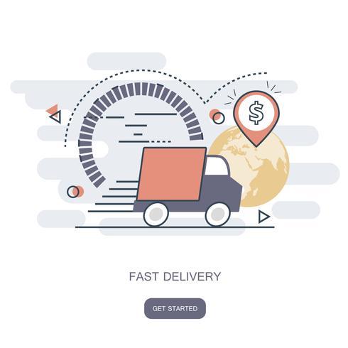 Concetto di consegna veloce. Ordine del corriere, spedizione in tutto il mondo. Trasporto veloce e gratuito. Illustrazione vettoriale piatto