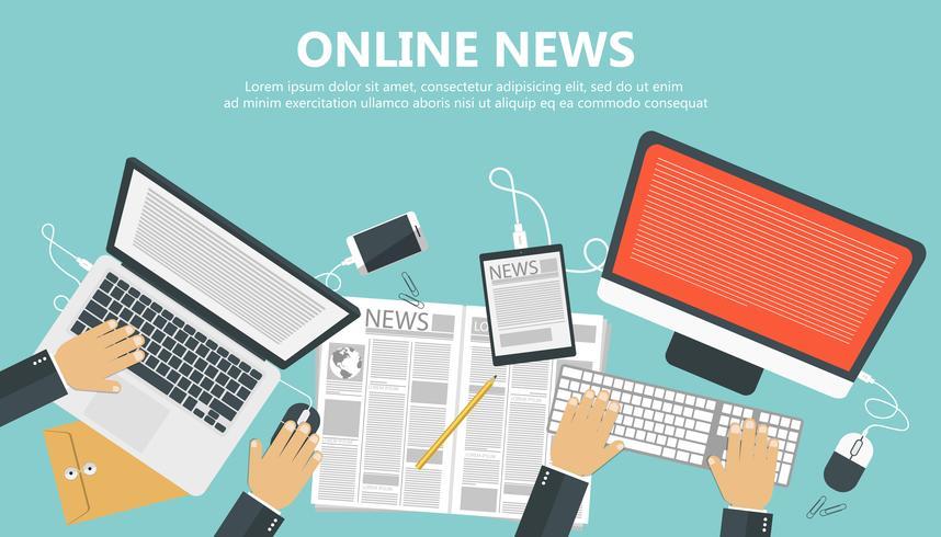 Concetto di notizie online. Banner piatto di informazioni e newsletter