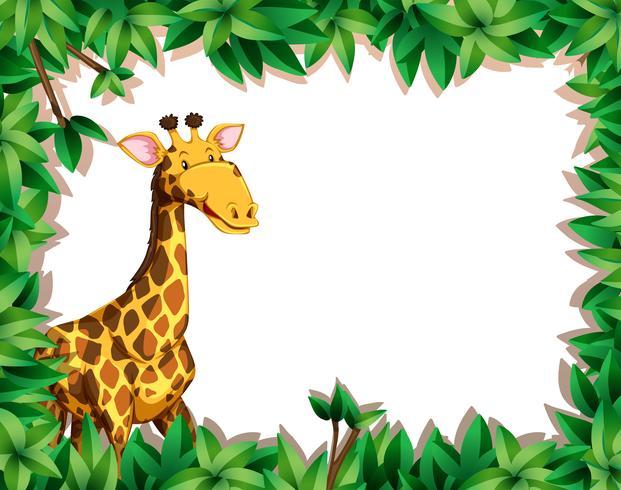 Girafa no fundo da folha