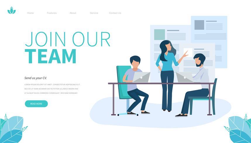Modelo de página de destino de Join our team. Conceito moderno design plano de design de página da web para o site e site móvel