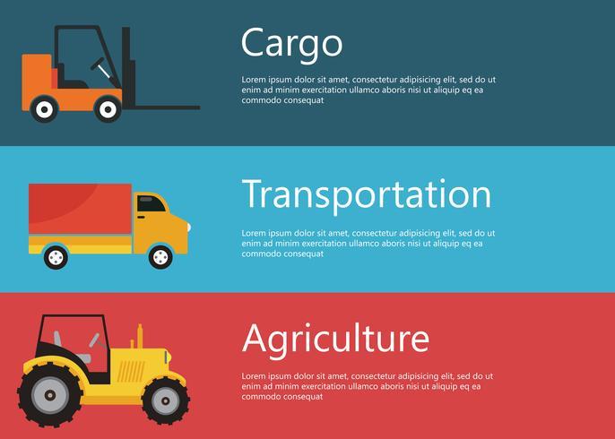 Véhicules modernes, créatifs de conception de vecteur plat, logistique et agriculture. Chariot élévateur, tracteur et camion cargo