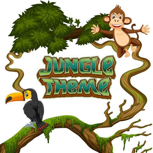 Animales en el tema de la selva