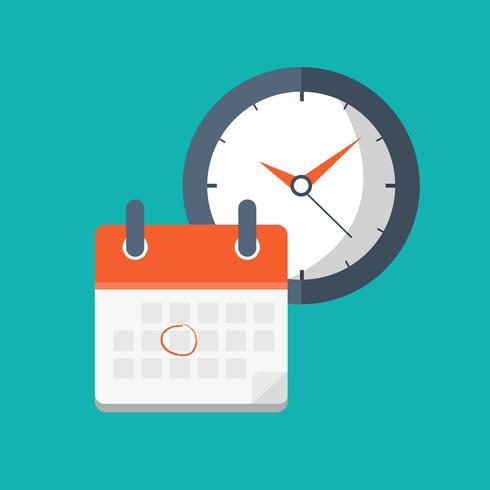 Conceito para planejamento de negócios e eventos de negócios. Calendário com relógio