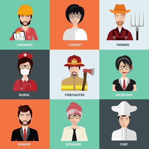 Pessoas de diferentes profissões, ícones na coleção definida