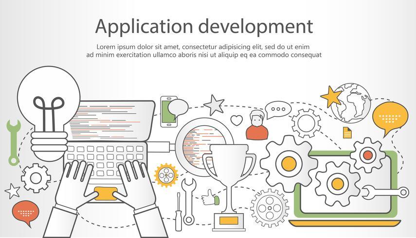 Banner de contorno de desenvolvimento de aplicativo. Ilustração vetorial plana vetor