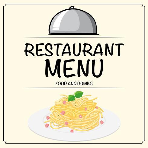 Restaurangmenymall med pasta på tallrik