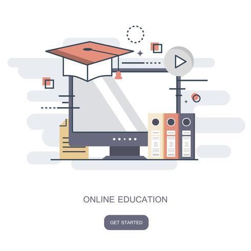 Education en ligne, formation, tutoriel en ligne, concept e-learning. Illustration vectorielle plane