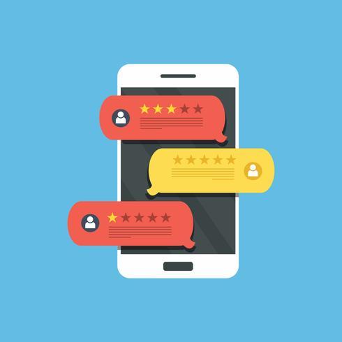 Conceito de feedback, mensagens de depoimentos e notificações