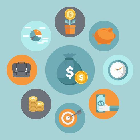 Bedrijfs en financiën concept. Geld investeringen platte pictogram