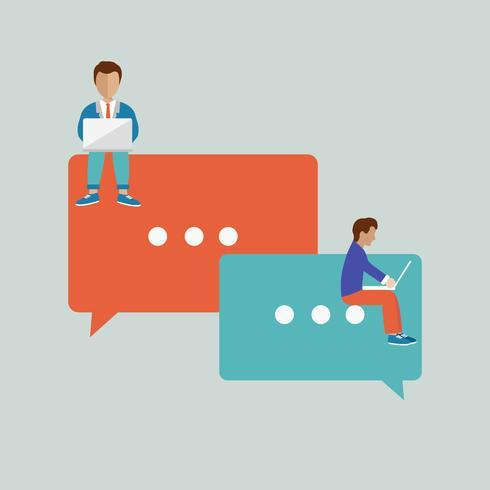 Les gens assis sur de grands symboles. Bulles pour le concept de commentaire et de réponse. Illustration vectorielle plane des jeunes à l'aide de portable pour ordinateur portable et laisser des commentaires dans les réseaux sociaux.