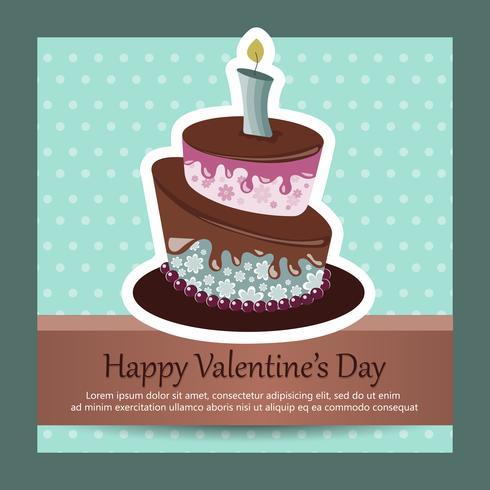 Cartão de aniversário com bolo. Conceito para aniversários, dia dos namorados, casamentos. Ilustração vetorial plana