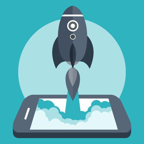 Start een bedrijfsconcept voor de ontwikkeling van mobiele apps of andere storende digitale bedrijfsideeën. Cartoon raketlancering van slimme telefoontablet. Platte vectorillustratie