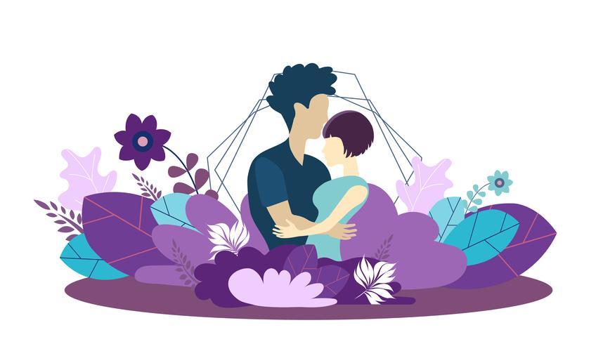 Modelo de design de página da Web para o crescimento do ambiente familiar, saudável e seguro para a família. Conceitos modernos da ilustração do vetor para o Web site e o móbil.