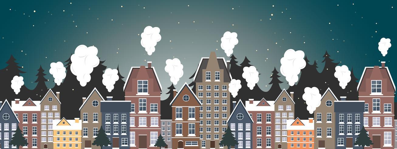 Paysage d'hiver. Affiche du nouvel an. Hiver dans le village. vecteur