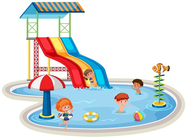 Crianças, em, isolado, parque água