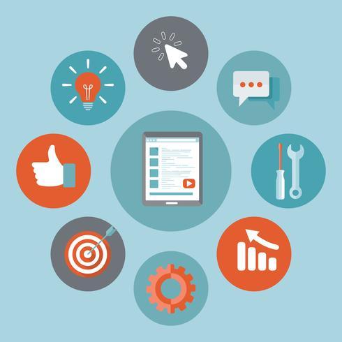 Icône de développement d'application. Concept pour bâtir une entreprise prospère. Tablette avec des icônes de développement d'application. Illustration vectorielle plane