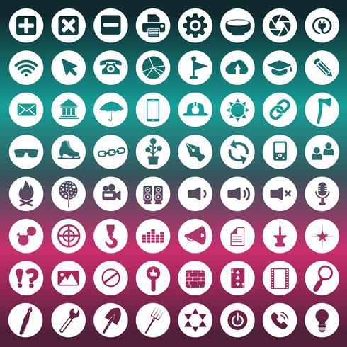 Set di icone universali per siti Web e applicazioni mobili. Illustrazione vettoriale piatto