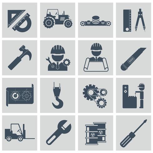 Conjunto de ícones de engenharia. Operador de máquina de equipamento de construção engenheiro gerenciando e fabricação de ícones. Ilustração vetorial plana