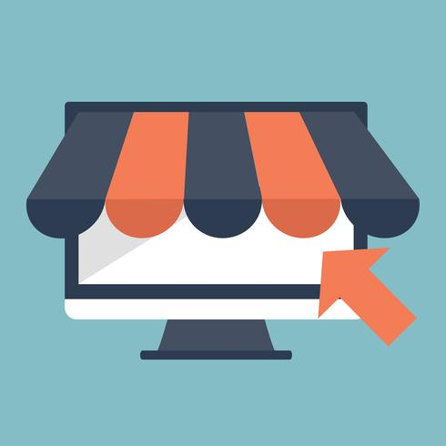 Web store and on line shopping concept. Global communication, internet banking, trading, e-commerce, money making
