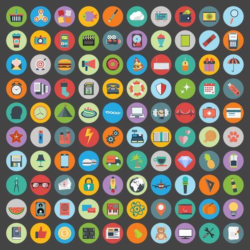 Os ícones lisos projetam a ilustração moderna do vetor. Grupo grande de ícones do desenvolvimento da Web e da tecnologia, símbolo da gestão empresarial, artigos do mercado e outros vários objetos no fundo.