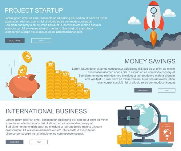 Conceptos de negocios y finanzas. Inicio del proyecto, ahorro de dinero y banners de negocios internacionales.