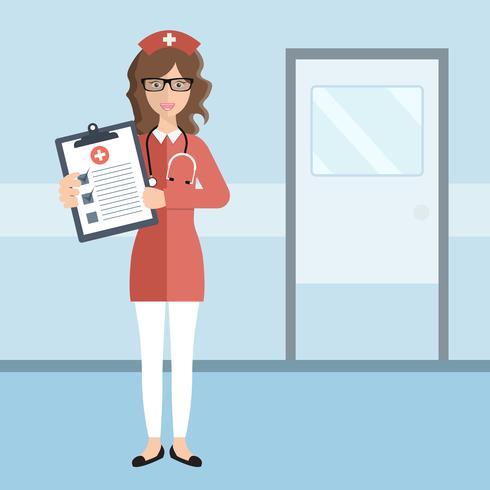 Krankenversicherung Konzept. Weibliche Krankenschwester im Krankenhaus, welches die Form der Krankenversicherung zeigt