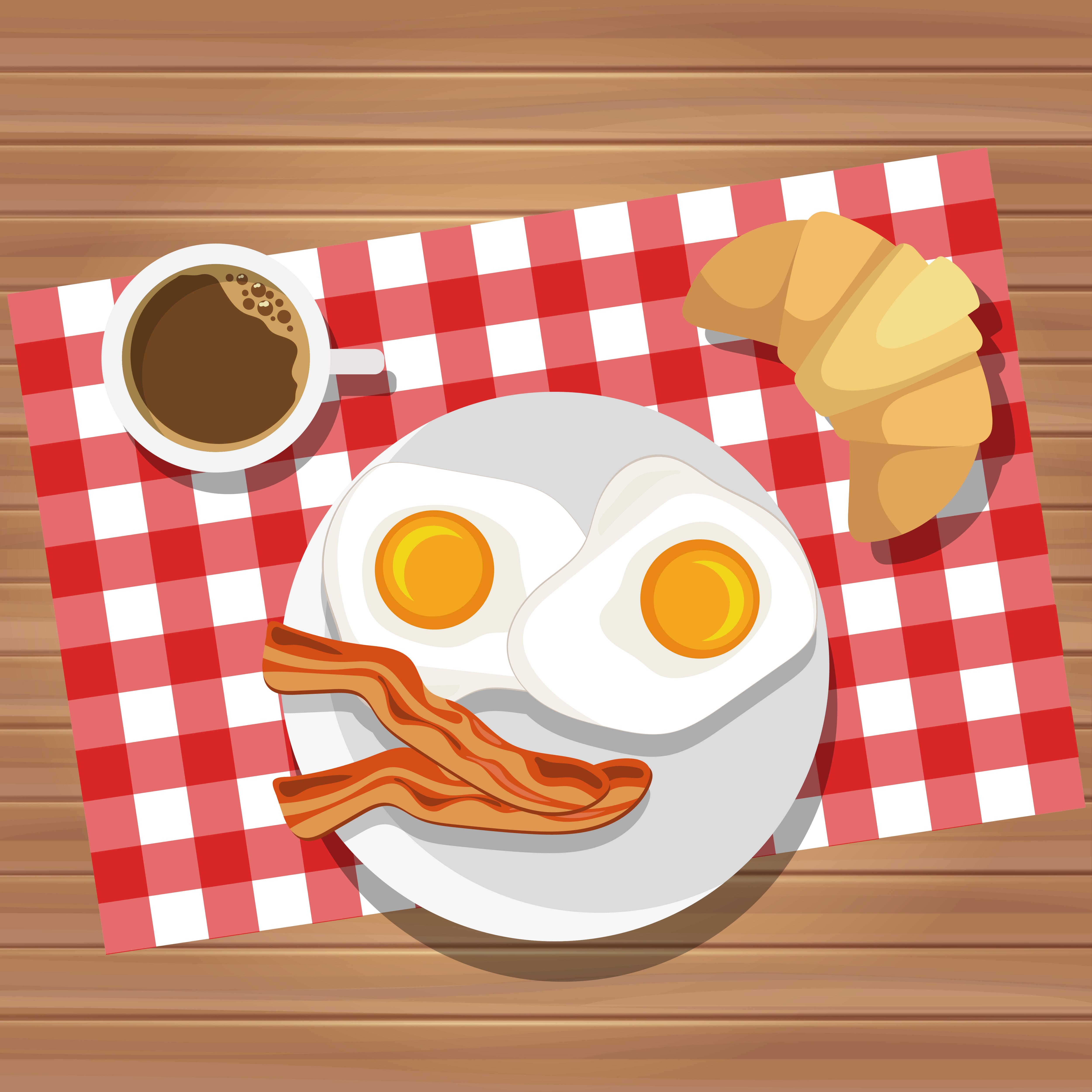 Breakfast of fried eggs and bacon with coffee and butter ...