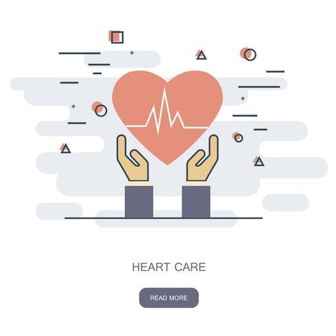 Hart zorg concept. Cardiovasculair. Handen met een rood hart. Platte medische pictogram. Vector illustratie.