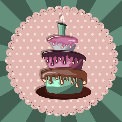 Carta di compleanno con torta Concetto per compleanni, San Valentino, matrimoni
